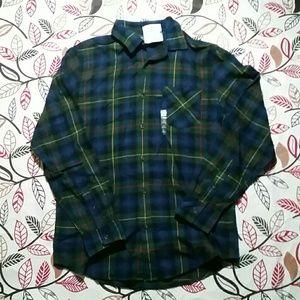 Arizona Jean Co.Chest Pocket Blue & Green Flannel